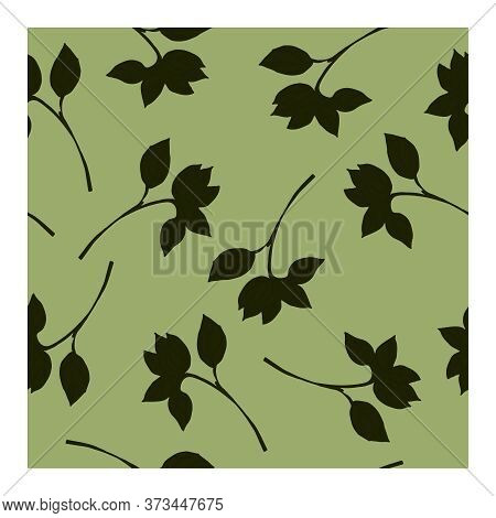 Seamless Pattern With Dark Green Branches And Leaves On A Light Green Background. Pattern With Branc