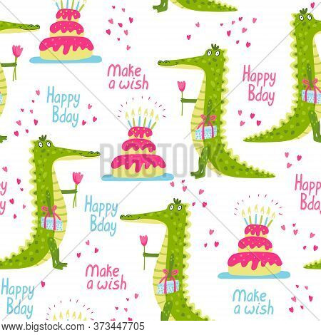 Vector Seamless Pattern With Cute Friendly Crocodiles And Birthday Cakes. Tulip Flowers. Best Wishes