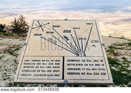 View Of The Holy Land From Mount Nebo Showing Important Places, Jordan