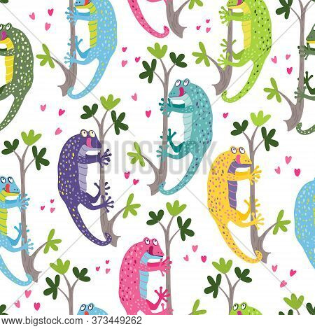 Vector Seamless Pattern With A Cute Colorful Geckos Hanging On The Branches. They Are Smiling. Great
