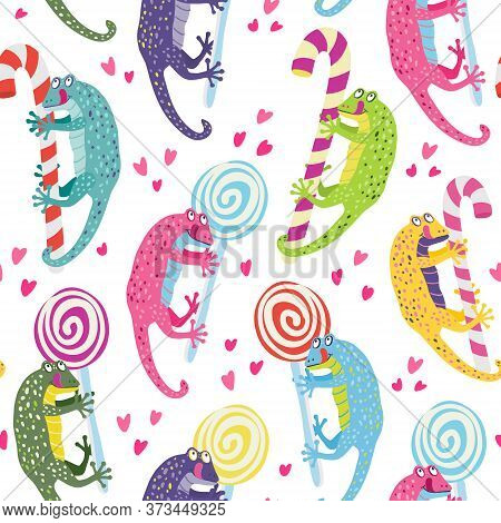 Vector Seamless Pattern With A Cute Colorful Geckos. They Have Lollipops And Candy Canes. They Are S