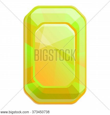 Yellow Emerald Icon. Cartoon Of Yellow Emerald Vector Icon For Web Design Isolated On White Backgrou