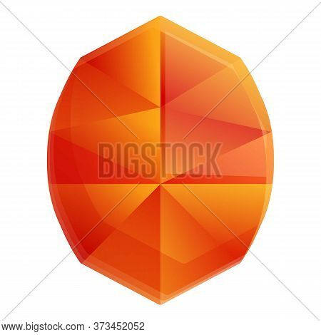Orange Gem Shape Icon. Cartoon Of Orange Gem Shape Vector Icon For Web Design Isolated On White Back