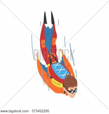 Male Skydiver In Wingsuit Falling Down, Skydiving And Parachuting Extreme Hobby Or Sport Cartoon Sty