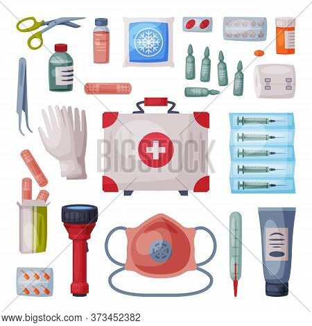 First Aid Kit Box With Medical Equipment And Medications For Emergency Service, Flashlight, Gloves,