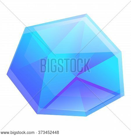 Blue Crystal Gemstone Icon. Cartoon Of Blue Crystal Gemstone Vector Icon For Web Design Isolated On