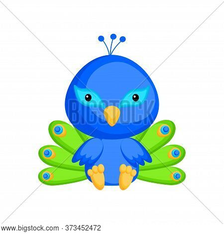 Cute Baby Peacock Sitting Isolated On White Background. Adorable Animal Character For Design Of Albu
