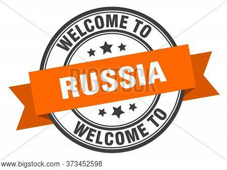 Russia Stamp. Welcome To Russia Orange Sign
