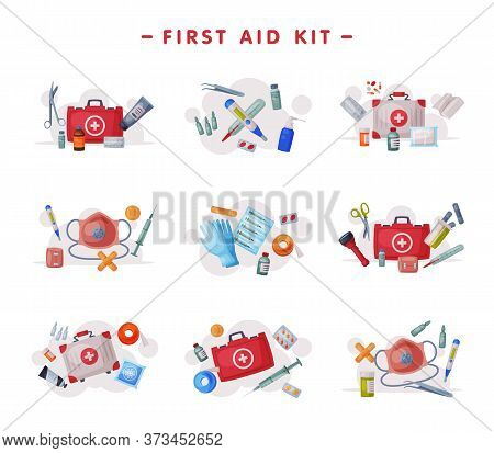 First Aid Kit, Medical Emergency Box Equipment And Medications, Urgency Service Tools Flat Vector Il