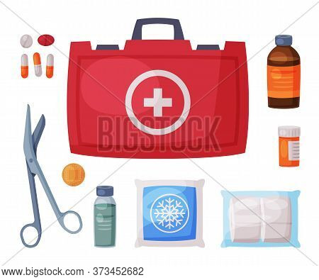 Red First Aid Kit Box With Medical Equipment And Medications For Urgency And Emergency Service Flat
