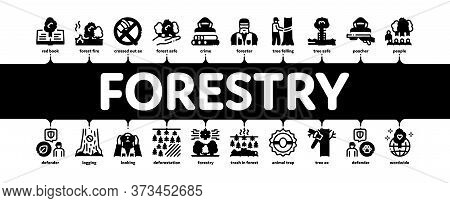 Forestry Lumberjack Minimal Infographic Web Banner Vector. Forestry Working Equipment And Tree Safe