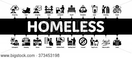 Homeless Beggar People Minimal Infographic Web Banner Vector. Homelessness And Shoe, Living On Stree
