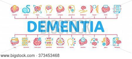 Dementia Brain Disease Minimal Infographic Web Banner Vector. Dementia Mind Degenerative Illness, Me