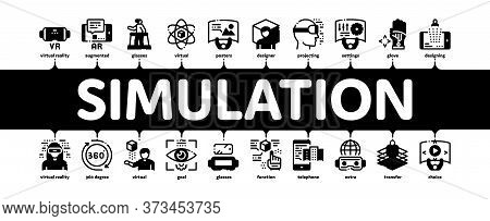 Simulation Equipment Minimal Infographic Web Banner Vector. Virtual Reality Vr Glasses And Simulatio