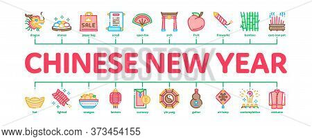 Chinese New Year Feast Minimal Infographic Web Banner Vector. Chinese Traditional Hat And Clothes, D