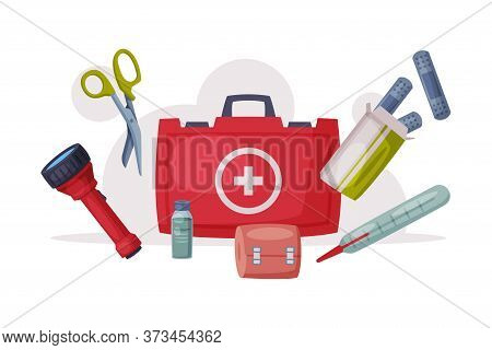 First Aid Kit Box With Medical Equipment And Medications, Urgency And Emergency Service, Healthcare