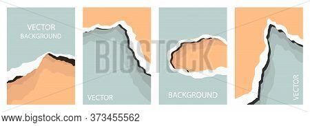 Abstract Background In The Style Of A Paper Cut. A Set Of Four Rectangular Backgrounds. Abstract Lay