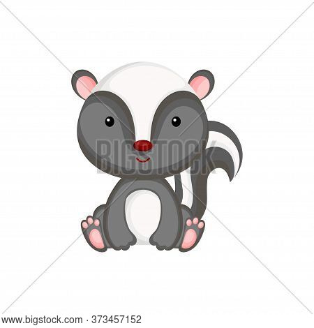 Cute Baby Skunk Sitting Isolated On White Background. Adorable Animal Character For Design Of Album,