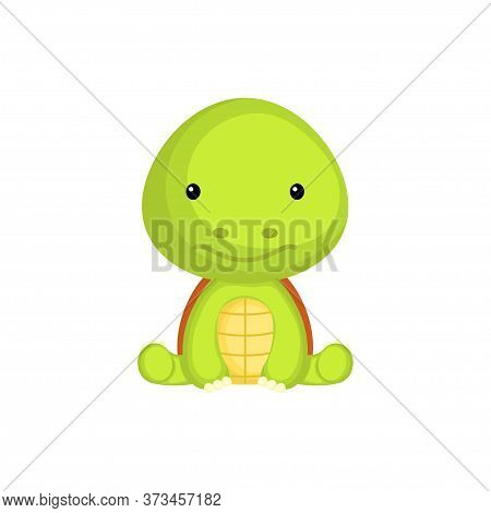 Cute Baby Turtle Sitting Isolated On White Background. Adorable Animal Character For Design Of Album