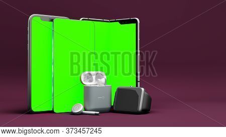 Green Screen Smartphones And Accessories On The Presentation Background 3d Render On Color Gradient