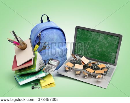 Online Learning Concept Blue Backpack With School Supplies And Laptop 3d Render On Green Gradient