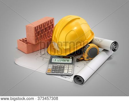 Modern Construction Costing Concept Hard Hat Bricks And Tape Measure In The Drawings Next To The Cal