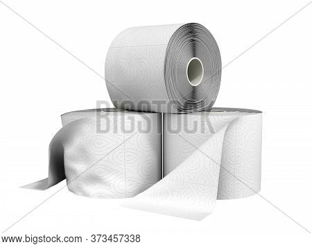 Toilet Paper Rolls 3d Render On A White Background No Shadow