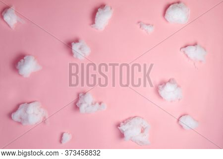 Cotton Clouds In Pink Sky. Digital Newborn Background, Advertisement Backdrop With Copy Space.