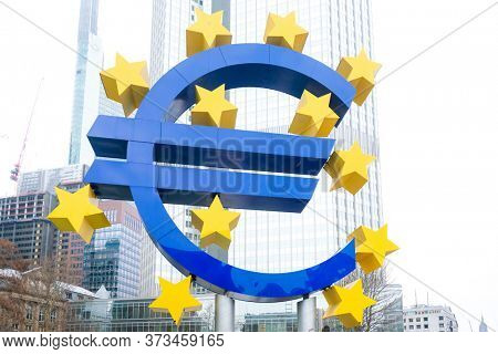 Frankfurt, Germany - January 22, 2019: European Central Bank (ECB) is the central bank for the euro and administers the monetary policy of the Eurozone in Frankfurt, Germany.