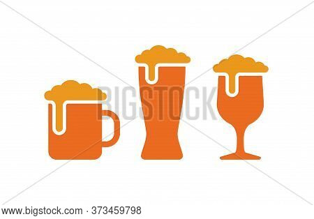 Beer Mug Logo Or Icon - Isolated Silhouette In Three Glass Mugs Variations