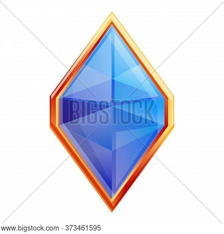 Blue Precious Gem Icon. Cartoon Of Blue Precious Gem Vector Icon For Web Design Isolated On White Ba