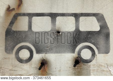 Sign And Symbol Of Bus Or Public Transport In Black On White. Rusty Vehicle Sign At An Abandoned Sto