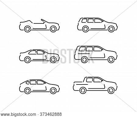 Outline Vector Cars Set - Monochrome Automobiles With Different Car Body - Sedan, Offroad, Roadster,