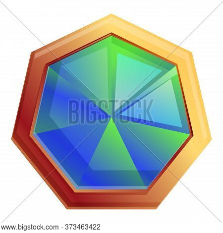 Multicolored Gemstone Icon. Cartoon Of Multicolored Gemstone Vector Icon For Web Design Isolated On