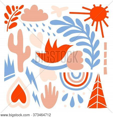 A Large Set Of Hand-drawn Various Shapes, Flowers, Branches, Birds, Hearts, Clouds, Lightning, Rainb