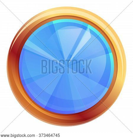 Round Gemstone Icon. Cartoon Of Round Gemstone Vector Icon For Web Design Isolated On White Backgrou