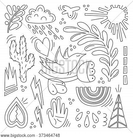 A Set Of Hand-drawn Objects-flowers, Birds, Hearts, Clouds, Lightning, And Rainbows. Vector Illustra