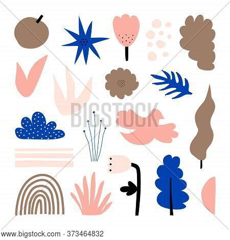 A Large Set Of Hand-drawn Various Shapes, Flowers, Leaves, And Plants. Abstract Modern Fashion Vecto