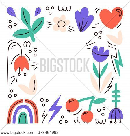 Cute Greeting Card With Various Flowers, Signs And Doodles. A Postcard With Space For Text. Cute Inv