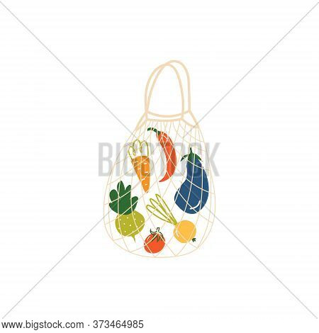 Vegetables In A String Bag. Reusable Shopping Bag With Various Vegetables. The Concept Of Zero Waste