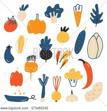 A Large Variety Of Vegetables. Cucumber, Tomato, Corn, Eggplant, Onion, Peas, Pepper, Broccoli, Pump