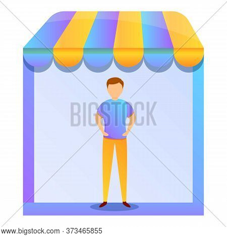 Street Shop Purchasing Manager Icon. Cartoon Of Street Shop Purchasing Manager Vector Icon For Web D