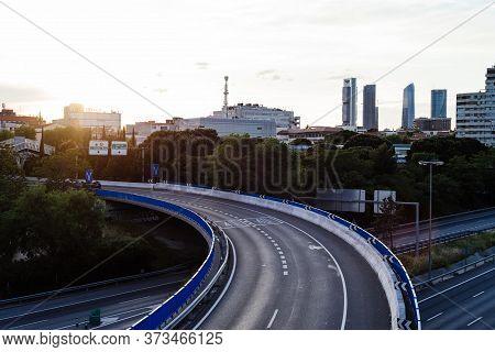 Madrid, Spain - May 13, 2020: M30 Motorway At Sunset.