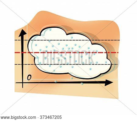 Weather Forecast And Precipitation. Cloud Motion Graph. Humorous Illustration