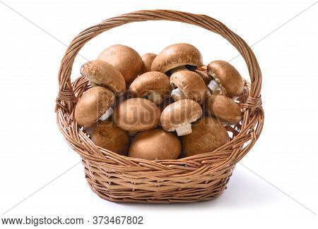 Basket Full Of Fresh Raw Champignon Mushrooms Ready To Be Prepared For A Healthy Delicious Meal, Stu