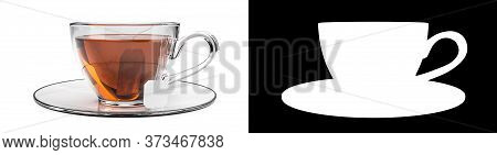 Cup of black tea isolated on white background. Glass cup with teabag. Black, brown hot tea. Alpha matt chanell mask included. 3d rendering.