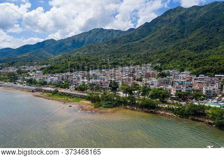 Tai Po, Hong Kong 13 June 2020: Drone fly over Tai Mei Tuk