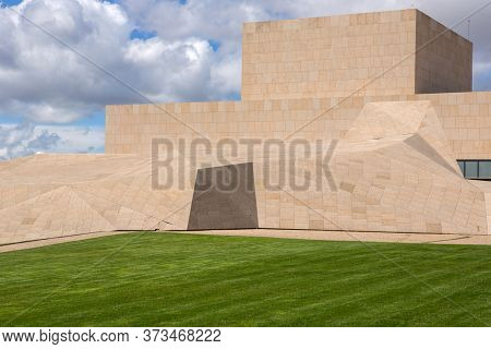 Avila Spain - April 25 2019: Congress Center of Avila outside the  Medieval Walls. The old city and its churches were declared a World Heritage site by UNESCO