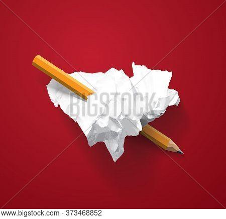 Love Heart Symbol Torn Paper Lumps Pencil