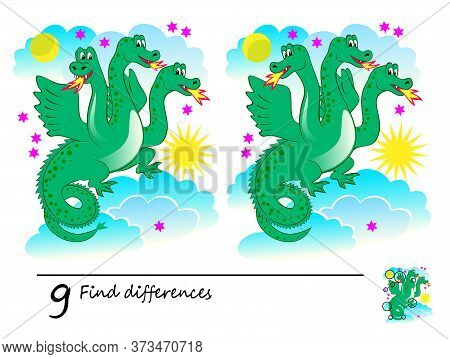Find 9 Differences. Logic Puzzle Game For Children And Adults. Printable Page For Kids Brain Teaser